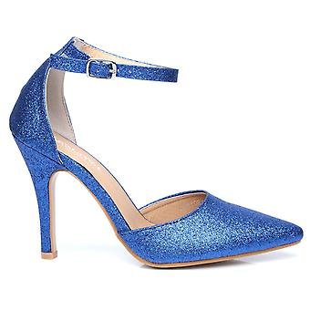 NEW YORK Blue Glitter Ankle Strap Pointed High Heel Court Shoes
