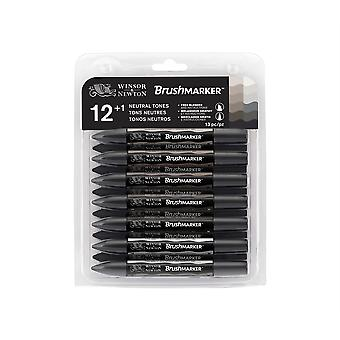 Winsor & Newton BrushMarker Set 12 + 1 Neutral Tones