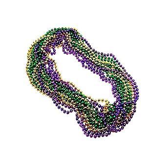 Metallic Mardi Gras Party Pärlor (3 längder av pärlor per enhet)