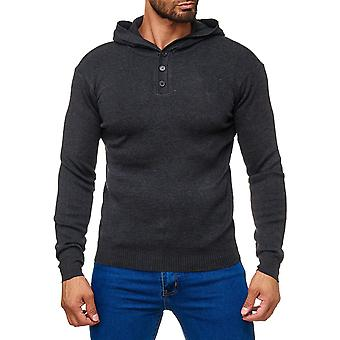 Men's knitted sweater Cardigan Hoodie fine knit hood with buttoned collar