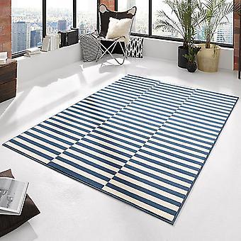 Tapis Design velours crème panneau bleu | 102406