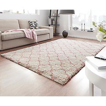 Design cut pile carpet deep pile Luna cream pink