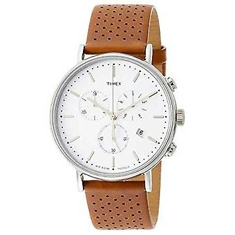 Timex Fairfield Chrono Brown Leather Strap/White Dial TW2R26700 Watch