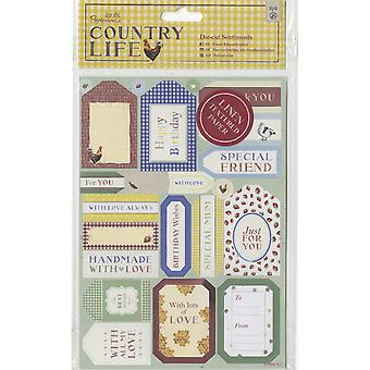 Papermania Country Life Die-Cuts 2/Sheets-Sentiments, Linen Finish