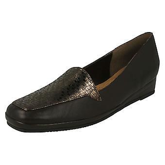 Ladies Van Dal Elegant Loafers Verona III - Metal/Fawn Lizard Prt Leather - UK Size 4D - EU Size 37 - US Size 6