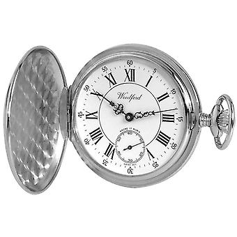 Woodford Chrome Plated Polished Full Hunter Roman Swiss Pocket Watch - Silver