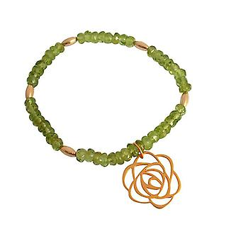 Green Peridot gemstone bracelet gold plated flower Art-Deco Grün