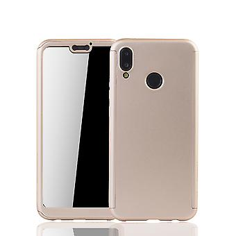 Huawei P20 Lite mobile phone shell protection case full cover tank protection glass gold