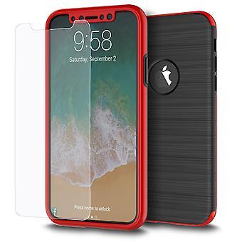 Apple iPhone X 2 i 1 tilfælde 360 graders fuld dækning case rød