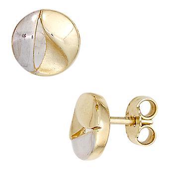 Ohrstecker Boutons 333 Gold Gelbgold teilrhodiniert teilmattiert Ohrringe gold