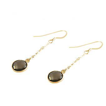 Brown - 2 cm - smoky quartz - forgyldte damer - øreringe - Øreringe - 925 sølv-