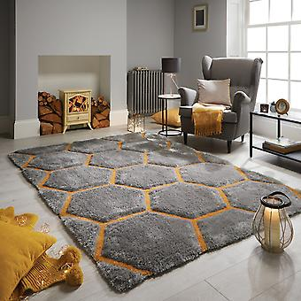 Verge Honeycomb Rugs In Grey And Ochre