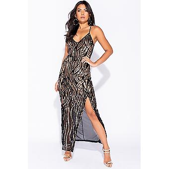 Glamour Sequin Front Thigh Split Sheer Maxi Dress