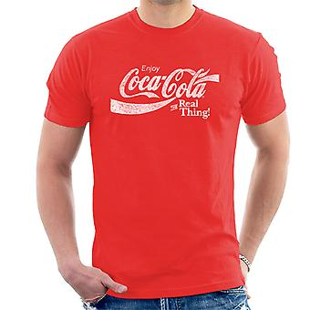 Coca Cola The Real Thing White Text Men's T-Shirt