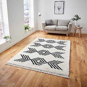 Boho 8886 Ivory svart rektangel mattor Plain/nästan slätt mattor
