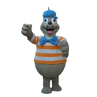 SPOTSOUND of sea lion mascot grey with an orange and white striped shirt