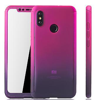 Xiaomi Mi 8 Handy-Hülle Schutz-Case Cover Panzer Schutz Glas Pink / Violett
