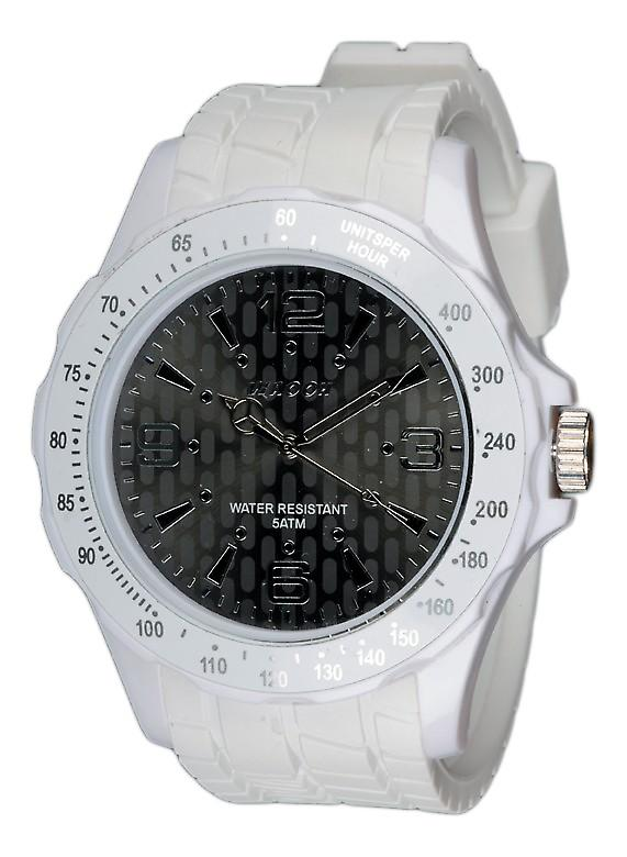 Waooh - White Silicone Watch with Black Dial In Numbers Argentés Waooh Gpm48 Inspired From Monaco Grand Prix
