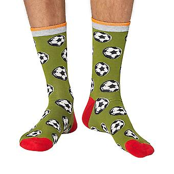 Football men's super-soft bamboo crew socks in green | Thought
