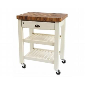Pembroke Trolley In Antique Cream Hevea With Acacia Top Fully Assembled 10283