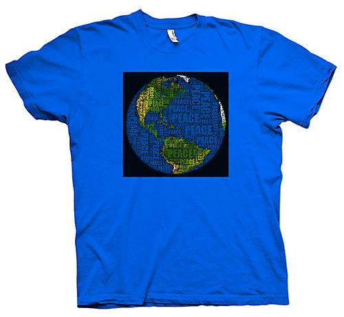 Mens T-shirt-Earth-Frieden-Karte