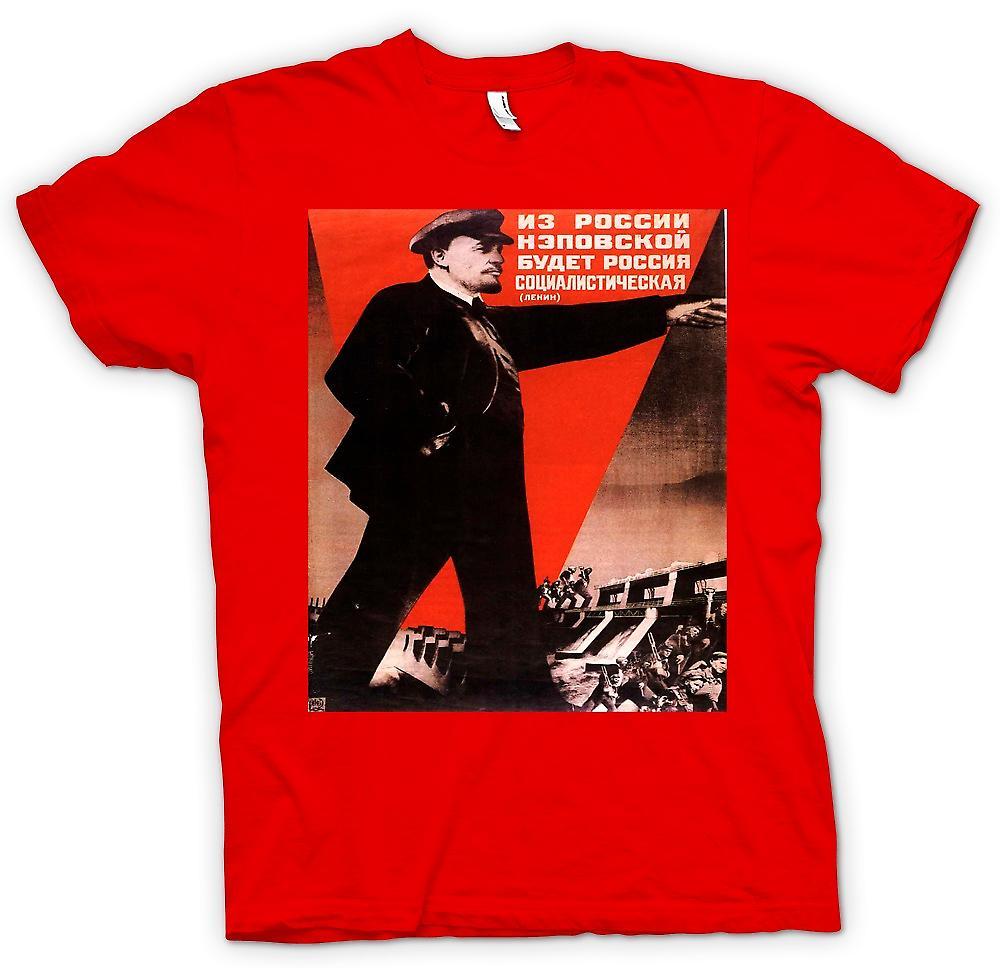 Mens t-shirt-Poster di propaganda russo Lenin