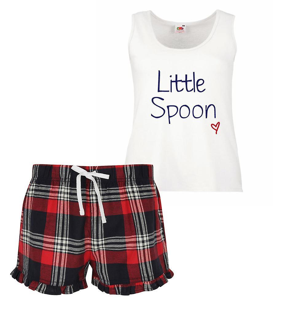 Little Spoon Ladies Tartan Frill Short Pyjama Set Red Blue or Green Blue