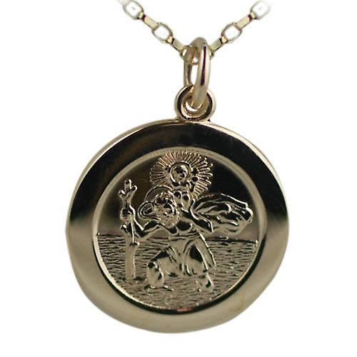 9ct Gold 21mm round St Christopher Pendant with belcher Chain 16 inches Only Suitable for Children