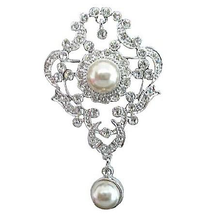 Victorian Antique Style Bridal Brooch Pin w/ Pearls