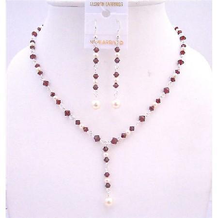 Bridal Dark Siam Red Crystals Drop Down Necklace White Swarovski Pearl