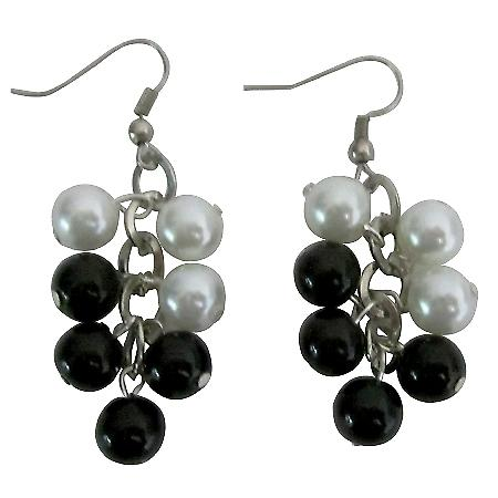 Black & White Pearls Earrings Synthetic Pearls Chandelier Earrings