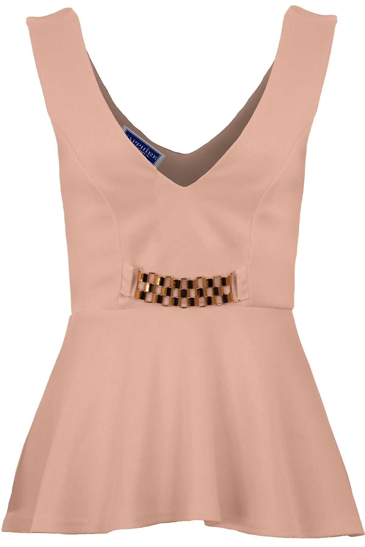Ladies Sleeveless V Neck Low Back Gold Chain Waist Insert Flare Peplum Top