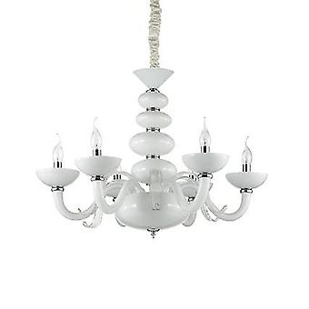 Ideal Lux - Praga White And Clear Glass Six Light Chandelier IDL132112