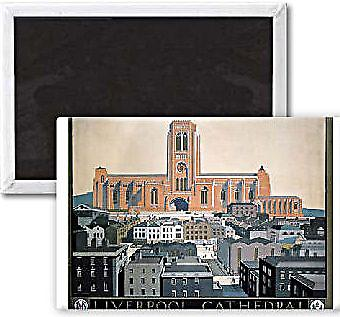 Liverpool Cathedral (old rail ad.) steel fridge magnet