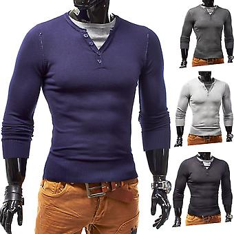 Men's Pullover Sweater longsleeve shirt Slim V Neck Straightiator