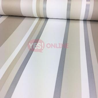 Stripe Wallpaper Striped Stripey Metallic Shiny Silver Orla Neutral Colours