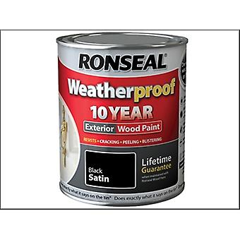 Ronseal Weatherproof 10 Year Exterior Wood Paint Black Satin 750ml