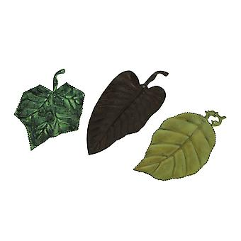 Green Brown and Yellow Metal Leaf Shaped Trays Set of 3