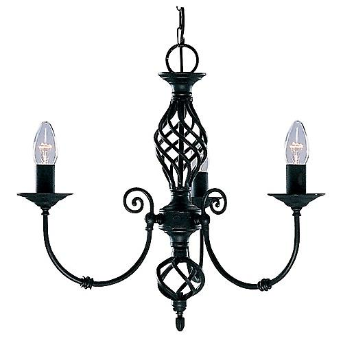 Searchlight 3379-3 Zanzibar Traditional 3 Arm Ceiling Pendant In Black