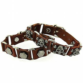 OOTB 2pack Gents Brown Leather Linked Bracelets With Metal Studs FJ1282