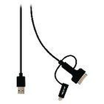 3-in-1 Sync und Ladekabel A Male-Micro B Male 1,00 m Black + 30-Pin Dock Adapter/Lightning Adapter