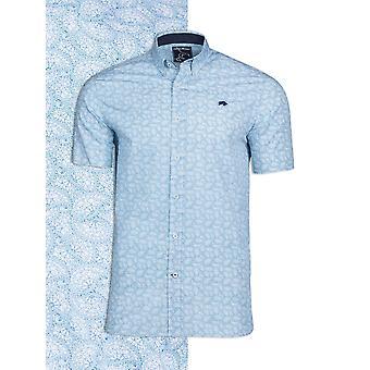 Short Sleeve Paisley Print Shirt - Petrol
