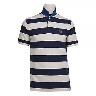 Gant Short Sleeve A.P Bar Stripe Pique Rugger Polo Shirt,(Light Grey)