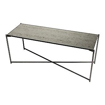 Gillmore Space Antiqued Glass Low Console Media Table With Gun Metal Cross Base