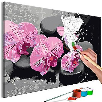 DIY canvas painting - Orchid With Zen Stones (Black Background)