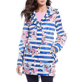 Joules Golet dame trykt vandtæt Packaway jakke-blå stribe blomster