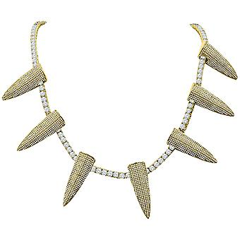 Iced Out Bling 4mm Cubic Zirconia 50cm Necklace - SPIKES gold