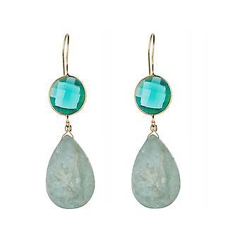 Gemshine earrings green turmins blue aquamarine drops 925 silver plated