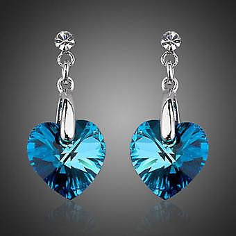 Platinum Plated Blue Stellux Austrian Crystals Drop Earrings, 2.2cm