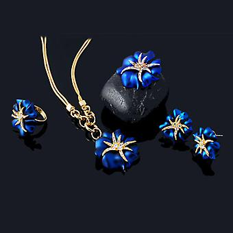 18K Gold Plated Royal Blue 4 Pieces Set